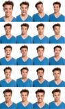 Compuesto de las expresiones de la cara del hombre joven aislado fotografía de archivo
