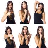 Compuesto de una mujer joven linda en diverso collage de la expresión Imágenes de archivo libres de regalías