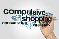 Compulsive shopping word cloud concept on grey background Royalty Free Stock Photography