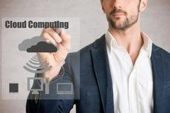 Computação da nuvem do desenho do homem Imagem de Stock Royalty Free
