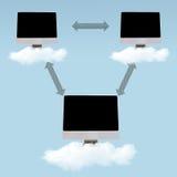 Computação da nuvem - trabalhos em rede ilustração do vetor