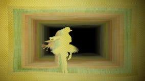 Computação gráfica, bailarina que faz a pirueta contra o fundo do túnel de papel ilustração royalty free