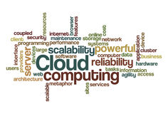 Computación de la nube - nube de la palabra stock de ilustración