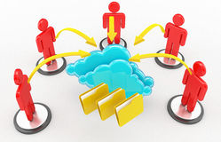 Computación de la nube y red social Fotos de archivo libres de regalías