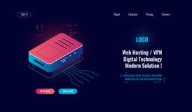 Computación e icono isométrico de proceso de datos digital grande, divisor de Internet del router, concepto en línea del web host libre illustration