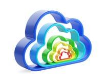 Computación y base de datos - símbolo coloreado de la nube Imagen de archivo libre de regalías