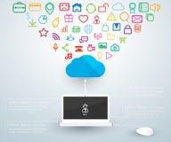 Computación de la nube de las conexiones del ordenador portátil del ordenador Imágenes de archivo libres de regalías