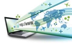 Computador abstrato do Internet do portátil com URL ilustração royalty free