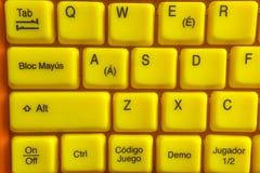 Computador amarelo do teclado imagens de stock