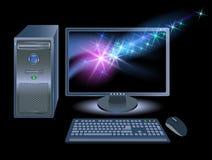 Computador com estrelas de brilho Imagens de Stock