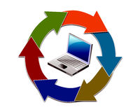 Computador com setas Fotos de Stock Royalty Free