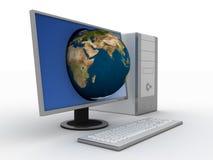 Computador com terra no indicador Fotos de Stock Royalty Free