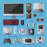 Computador, console digital do jogo online video, grupo do vetor das ferramentas do jogo ilustração do vetor