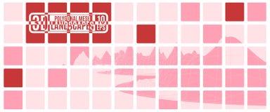 Computador cor-de-rosa da grade das montanhas do polígono Fotografia de Stock Royalty Free