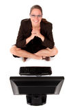Computador da mulher de negócios Fotos de Stock