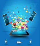 Computador da tabuleta do vetor com a nuvem dos telemóveis de Fotos de Stock Royalty Free