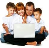 Computador de Familys Imagens de Stock Royalty Free