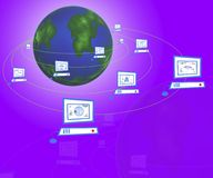 Computador de rede em torno da terra Imagem de Stock