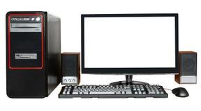 Computador de secretária com exposição do tela panorâmico Fotografia de Stock Royalty Free