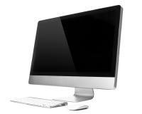 Computador de secretária com teclado e o rato sem fio Fotos de Stock Royalty Free