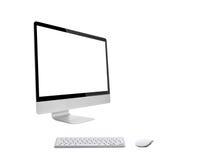 Computador de secretária com teclado sem fio imagem de stock