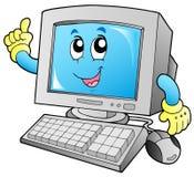 Computador de secretária de sorriso dos desenhos animados Fotografia de Stock