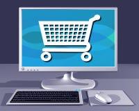 Computador de secretária que mostra a compra do Internet ilustração stock