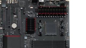 Computador do cartão-matriz com os detalhes que refrigeram a memória e o processador filme