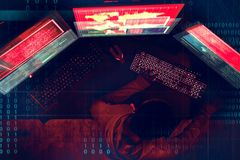 Computador do crime do Cyber que corta o conceito fotos de stock royalty free