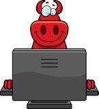 Computador do diabo dos desenhos animados Fotografia de Stock Royalty Free