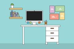Computador do espaço de trabalho com mesa da tabela e cor lisa minimalista ilustração stock