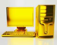 Computador do ouro Fotos de Stock Royalty Free
