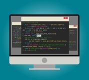 Computador do programador, com código de computador na tela Fotografia de Stock