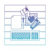 Computador do teclado e ferramentas de desenho sobre a mesa na vista superior no roxo degradado ao contorno azul ilustração royalty free