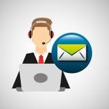 Computador dos fones de ouvido do homem do caráter com email da mensagem Imagem de Stock Royalty Free