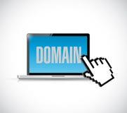 computador e cursor do sinal do domínio Imagens de Stock
