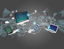 Computador e dispositivos indicados em uma relação futurista com dentro Foto de Stock Royalty Free