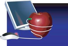 Computador e maçã ilustração royalty free