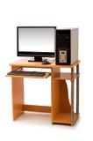 Computador e mesa isolados Fotografia de Stock