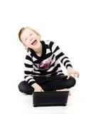 Computador e riso foto de stock
