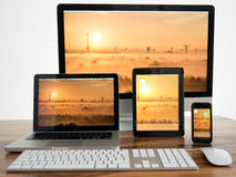 Computador e tabuleta Fotografia de Stock Royalty Free
