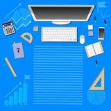 Computador e vários objetos no fundo azul ilustração stock