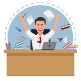Computador feliz do neap do assento do homem de negócios ilustração do vetor