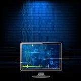 Computador no fundo binário Foto de Stock Royalty Free