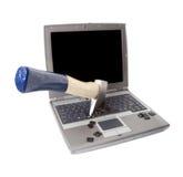 Computador portátil danificado foto de stock