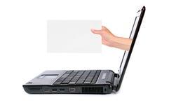 Computador portátil e mão Foto de Stock Royalty Free