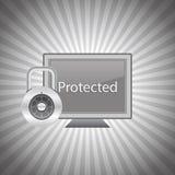 Computador protegido Fotografia de Stock