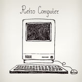 Computador retro tirado mão da garatuja do vetor ilustração do vetor
