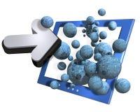 Computador, seta e esferas Foto de Stock