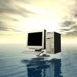 Computador sobre a água imagens de stock royalty free